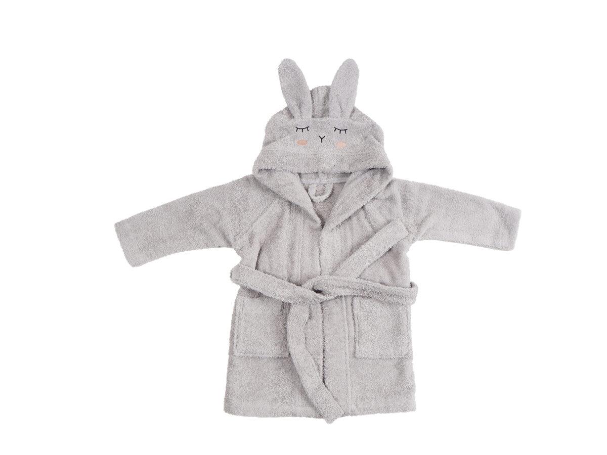 Organiskās kokvilnas halāts - Pelēks zaķis [Silver Gray]