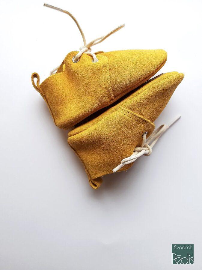 Oxforda tipa zamšādas zābaciņi - sinepju dzeltenā krāsā 12 cm