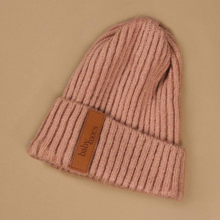 Baby mocs - Beanie cepure rozā