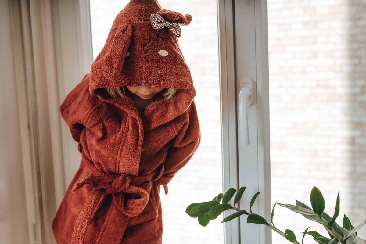 Organiskās kokvilnas halāts - Brūngans zaķis [Rust]