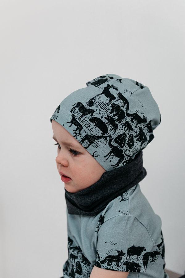 Plānā beanie cepure - Apkārt pasaulei zilizaļa
