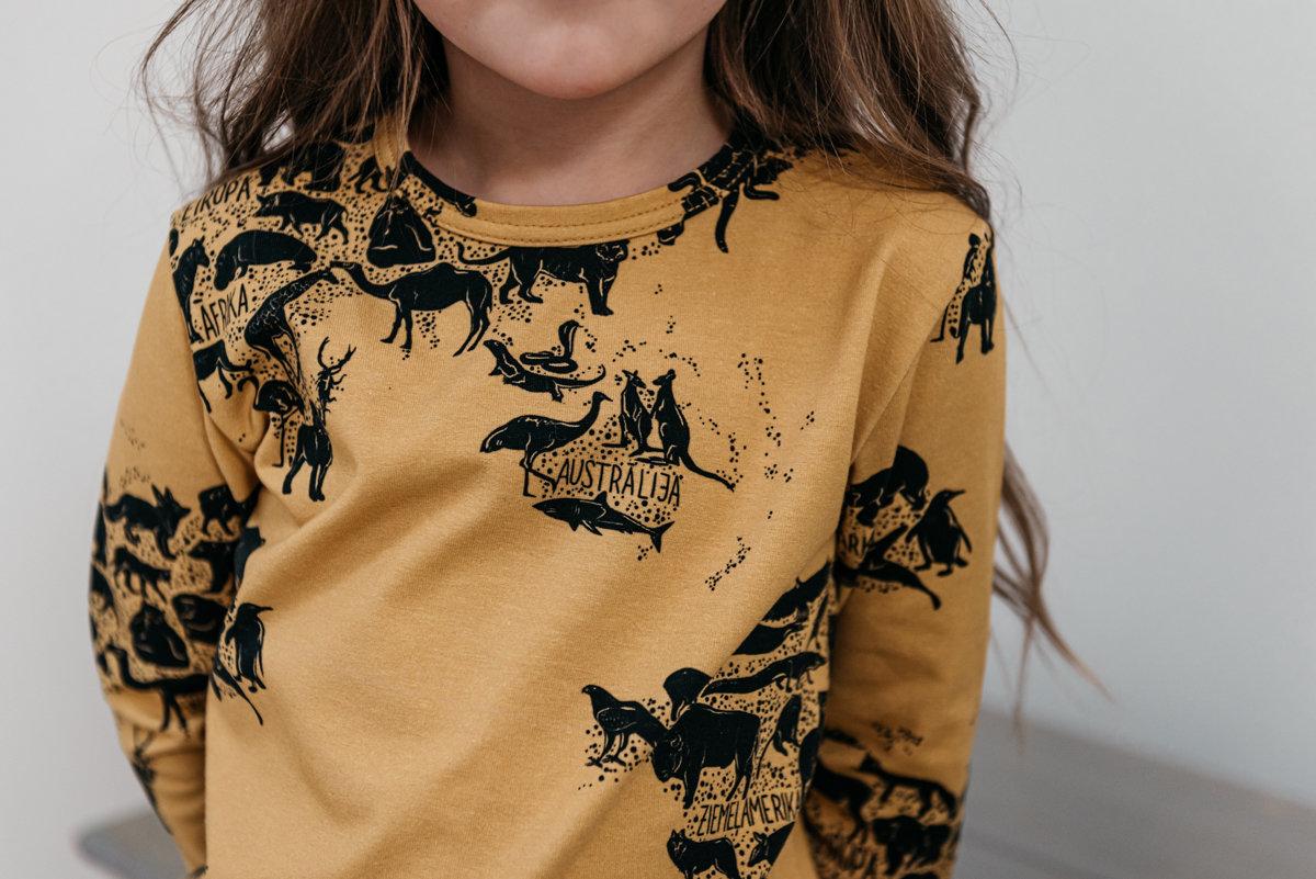 Krekls ar garām piedurknēm - Apkārt pasaulei dzeltenīgs