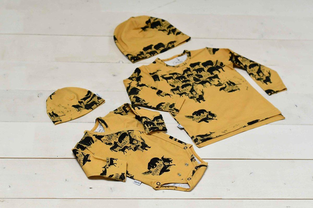 Plānā beanie cepure - Apkārt pasaulei dzeltenīga