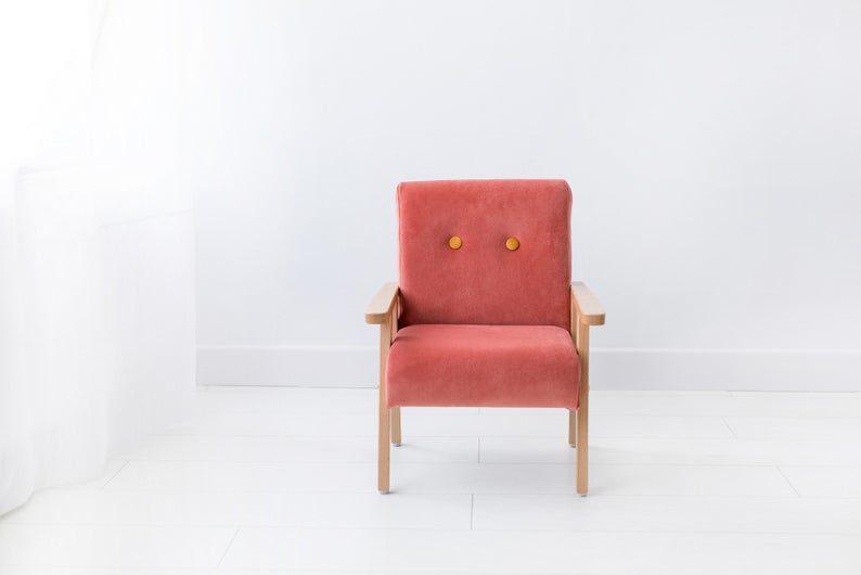Bērnu klubkrēsls - Koraļļu krāsas