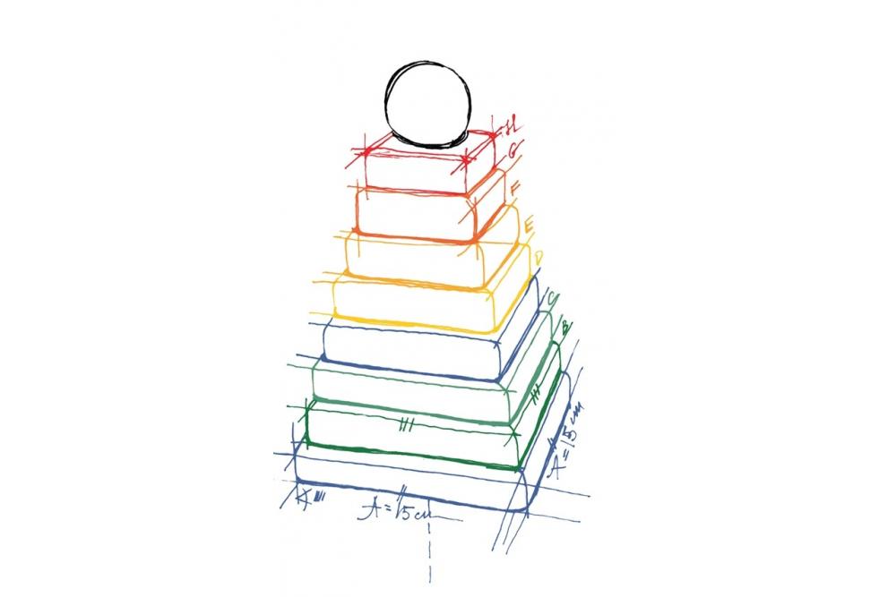 Wooden story krāsaina koka piramīda