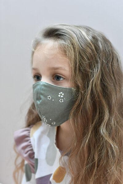 Sejas aizsargmaska - Haki ziediņi / Haki divpusēja (bērnu)