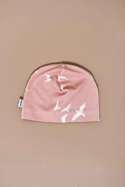 Beanie cepure - putni / rozā