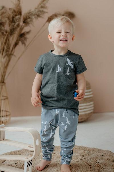Krekls - tumši pelēks ar putnu izšuvumu