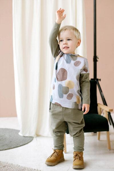 Vidēji biezas bikses ar kabatām - Haki krāsā