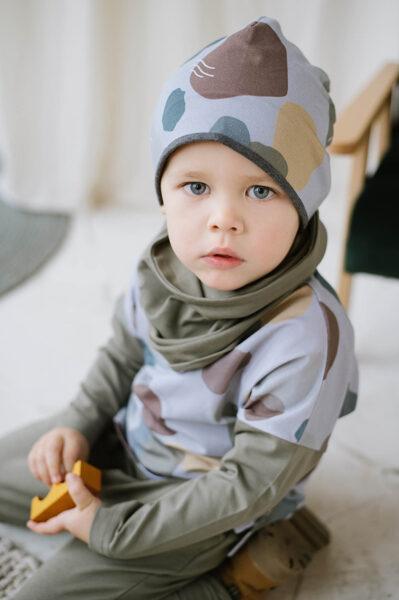Beanie cepure - Krāsu traipi / Zili