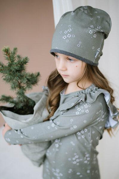Beanie cepure - Haki ar ziediņiem