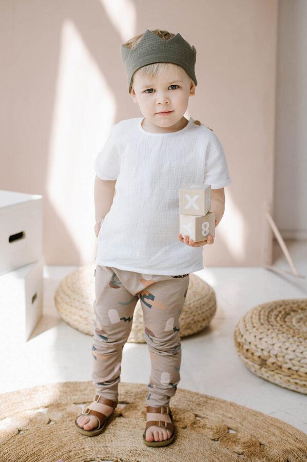 Plāna muslīna krekls ar īsām piedurknēm - Balts
