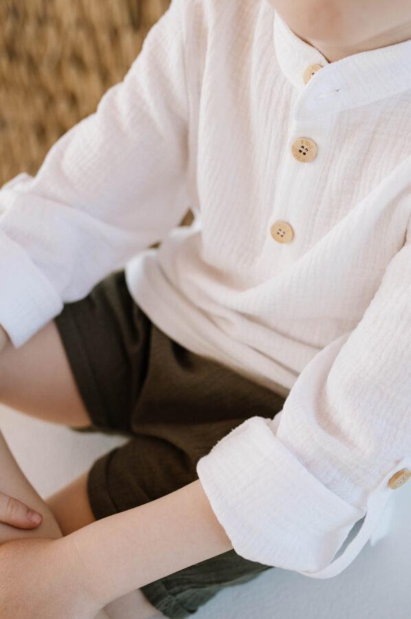 Plāna muslīna krekls ar pusgarām piedurknēm - Balts