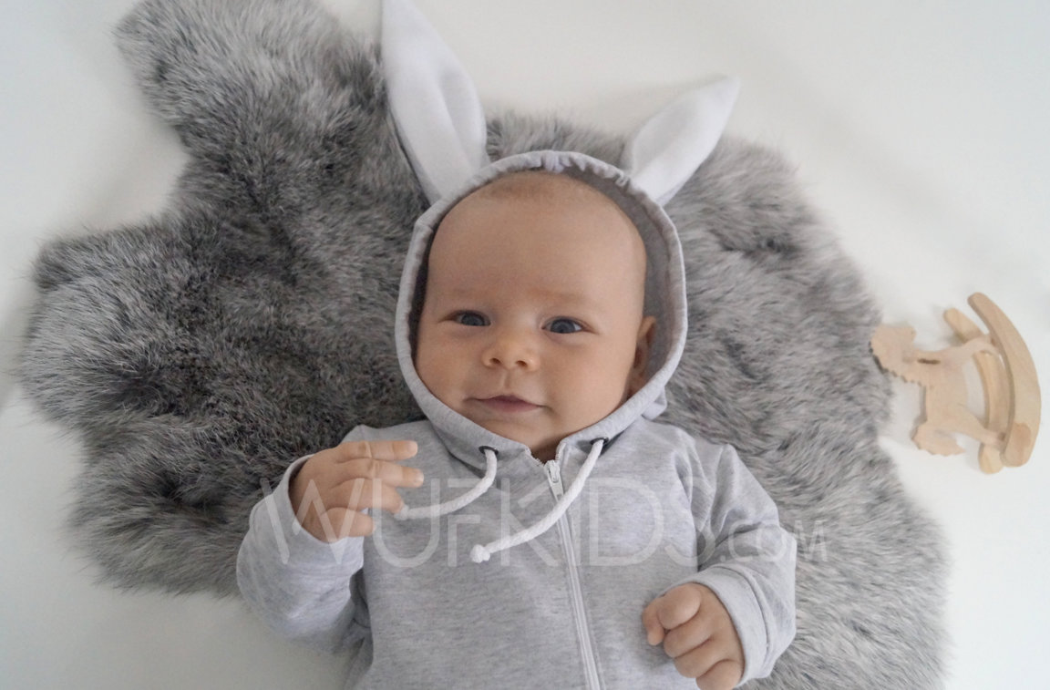 Grey toddler bunny romper with ears, children rabbit romper, baby overall, onesie, bunny jumpsuit