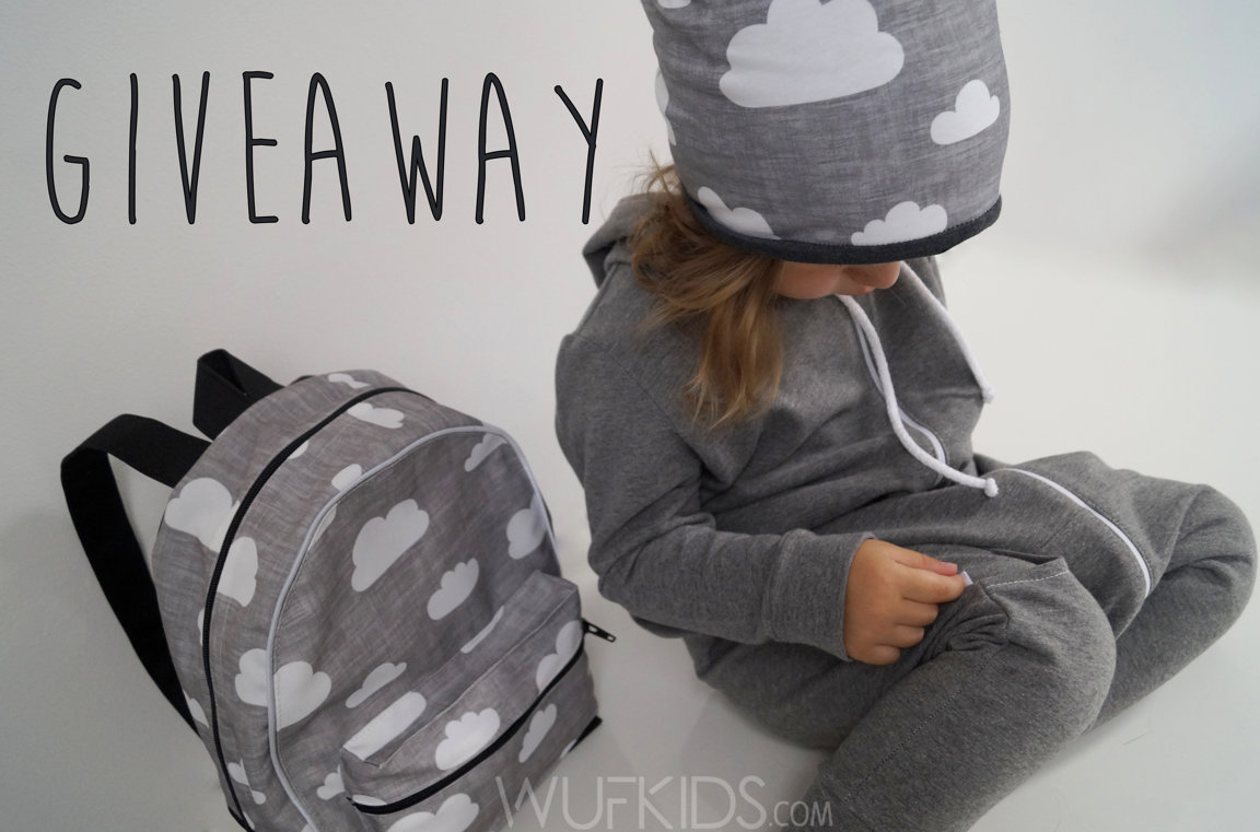 grey with cloud beanie hat, slouchy beanie hat, toddler backpack with grey clouds